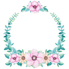 Colorful Wreath with Watercolor Leaves and Flowers