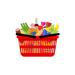 Vector market shopping basket full food and drink