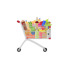 Vector full food meal drink a shopping trolley