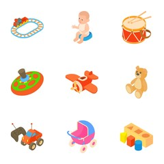 Toys for kids icons set. Cartoon illustration of 9 toys for kids vector icons for web