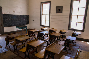 Old school house room with desks