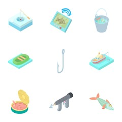 Fishing on river icons set. Cartoon illustration of 9 fishing on river vector icons for web