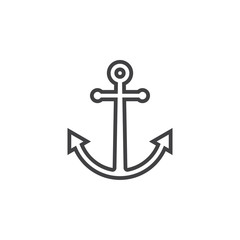 Anchor line icon, outline vector sign, linear pictogram isolated on white. logo illustration