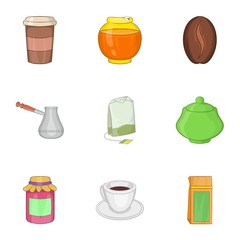 Coffee icons set. Cartoon illustration of 9 coffee vector icons for web