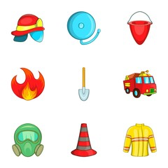 Fire icons set. Cartoon illustration of 9 fire vector icons for web
