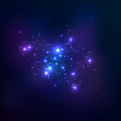 Vector space background. Star cluster.