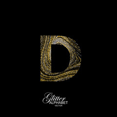 Curly textured Letter D.