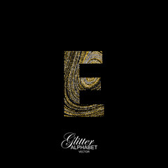 Curly textured Letter E.