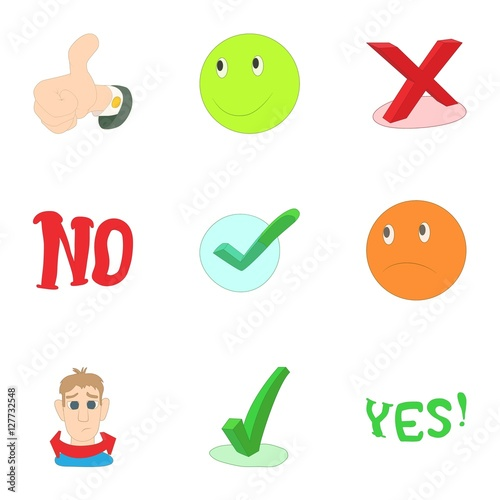 Instant Yes Button : Quot yes no button icons set cartoon illustration of
