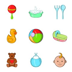 Child icons set. Cartoon illustration of 9 child vector icons for web