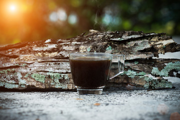 morning coffee on the wood.