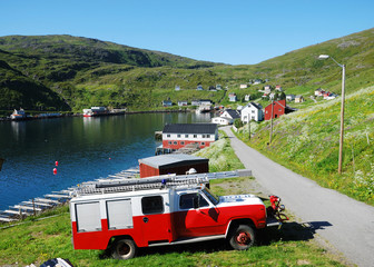 Summer view of fishing village Akkarfjord