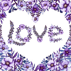 Square Frame with Watercolor Heart, Violet Flowers and Floral Word Love