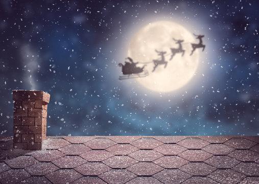 Santa Claus flying in his sleigh