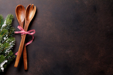 Christmas background with utensil