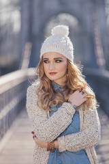 Winter portrait of a beautiful blonde woman