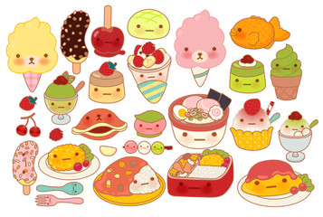 Collection of lovely baby japanese food doodle icon, cute omelet