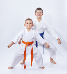 Two brothers are in the rack karate on a light background