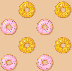 Seamless pattern. Donut with glazed sprinkles and frosting cream isolated on white background. Sweet tasty icing sugar doughnut. Donuts bakery cake vector icon illustration