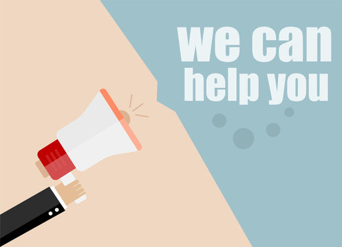 flat design business concept. we can help you. Digital marketing business man holding megaphone for website and promotion banners.