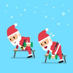 Cartoon santa claus doing dumbbell row exercise step training