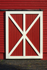 red barn door white plank wooden pattern