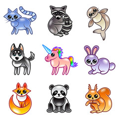 Cute cartoon animals icons vector set