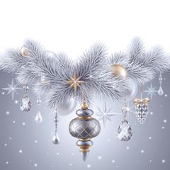 digital illustration, silver christmas tree ornaments, Christmas background, winter holiday, festive greeting card, blank banner