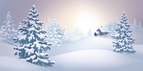 winter nature, panoramic view, Christmas tree, holiday background, digital illustration