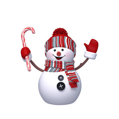 3d snowman isolated on white background, Christmas character design