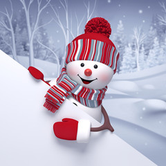 3d snowman, winter forest landscape, Christmas Holiday background, festive greeting card, blank banner