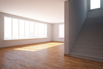 Empty interior with staircase