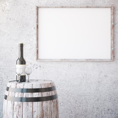 Wine and aged wooden frame