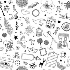 Seamless black and white pattern of random hand drawn items