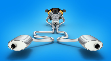 Exhaust pipes system with engine back view on blue gradient back