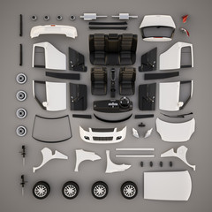 Car parts.Top view. 3D illustration
