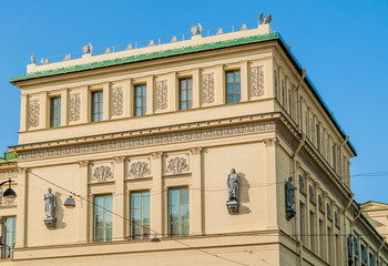 The New Hermitage building in St Petersburg, Russia - closeup of facade details