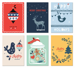 Winter Holidays cards with New Year tree, dove, jar, gingerbread men, Christmas ornaments and deer. Vector illustration.