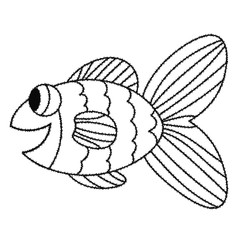 Happy grunge black outline cute cartoon doodle fish. Hand drawn cheerful tropical aquarium animal. Icon isolated on white background.