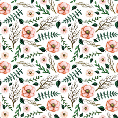 Watercolor Seamless Pattern with Light Red Flowers, Tree Branches and Little Green Leaves