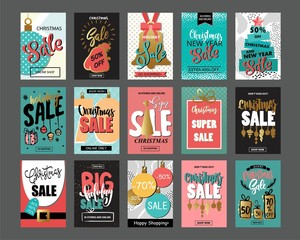 Big set of creative sale holiday website banner templates. Christmas and New Year hand drawn illustrations.