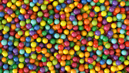 Colorful dragee balls background. Photo Pattern design for banner, poster, flyer, card, postcard, cover, brochure. High Resolution.
