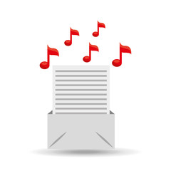 email paper music note design vector illustration eps 10