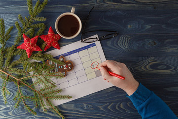 Ready to coming christmas. Calendar with marked date of christma