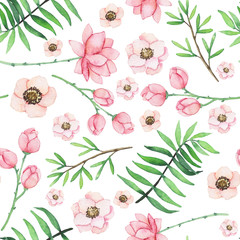Watercolor Light Red Flowers and Green Ferns Seamless Pattern