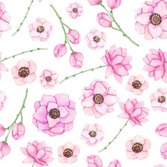 Seamless Pattern with Watercolor Flowers in Light Colors