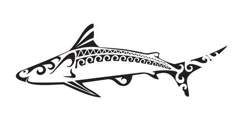 Ornamental shark tattoo