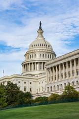 Daytime Landscape US Capitol Building Washington DC Grass Blue S
