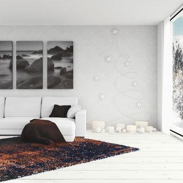 3D render - Wohnzimmer mit weihnachtlicher Beleuchtung