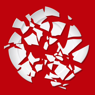 Vector broken plate. White destroyed plate on red background